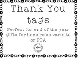 Thank You tags for room parents, volunteers, or PTA
