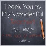 Teacher Appreciation Gift Book