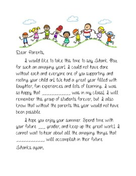 Thank You to Parents! End of the Year Letter