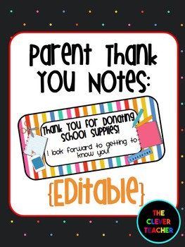 Thank You to Parents for Supplies {Editable}