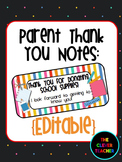 Thank You to Parents for Supplies - Editable
