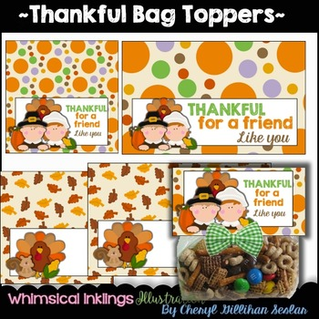 Thank ful Bag Topper- Thanksgiving Clipart