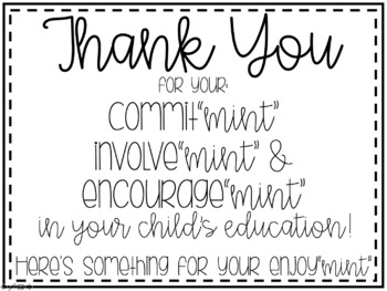 Thank you - Mint Sign for Parent Nights