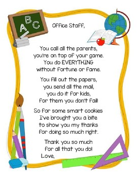 Thank You Office Staff By Miss Harvey S House Tpt