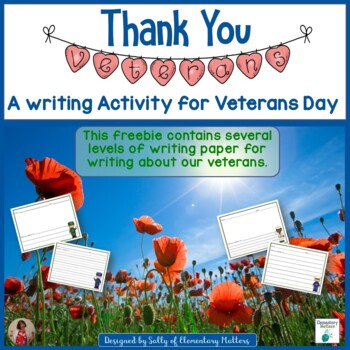 Thank you Veterans - Writing Paper Freebie!