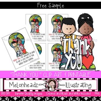 Thank you clip art and printable - FREEBIE - Melonheadz Clipart