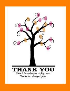 Thank you fingerprint art end of year teach gift parent gift handprint tree