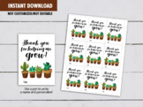 Thank you for helping me Grow Gift Tag Teacher, Cactus, Suculent Card Ideas