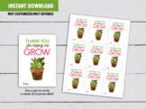 Thank you for helping me Grow Teacher Gift Tag, Suculent Cactus Card Ideas