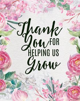 Thank you for helping us grow, printable teacher gift classroom art prints