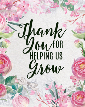 Thank You For Helping Us Grow Printable Teacher Gift Classroom Art Prints