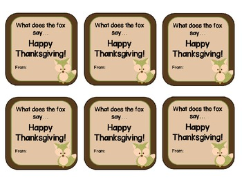 Thank you freebie! What the fox says...Thanksgiving gift tags