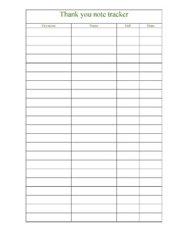Thank you note tracker