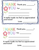 Thank you notes from Teacher to student and parents