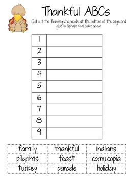 Thankful ABCs - Thanksgiving words