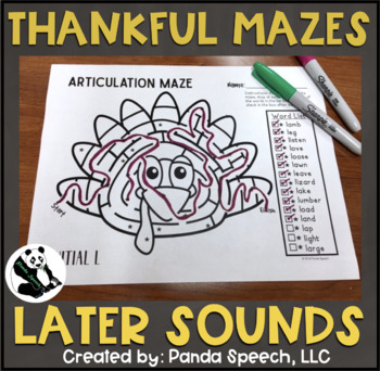 Thankful Articulation Mazes: A Speech Therapy Activity