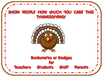 Thanksgiving Thankful Badges & Bookmarks for Teachers, Students, Staff & Parents