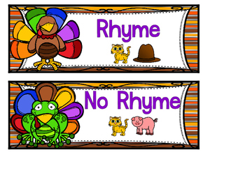Thankful Buddies Rhyming Sort Thanksgiving File Folder Game Phonemic Awareness