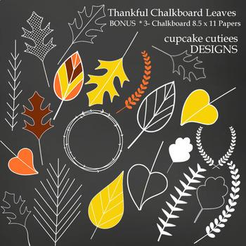 Thankful Leaves Autumn Fall Chalkboard Digital Clip Art Elements
