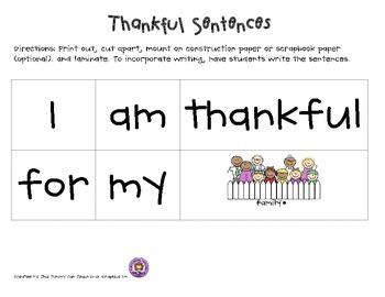 Thankful Common Core Sentences