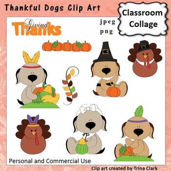 Thankful Dogs Thanksgiving Clip Art - Color - personal & commercial use