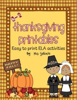 Thanksgiving Printables for ELA