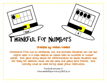 Thankful For Numbers: Using Tens Frames to Add or to Match Numerals to Sets