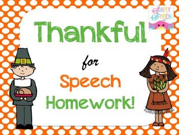 Thankful For Speech Homework!