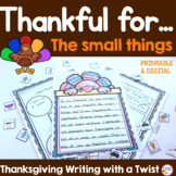 Thanksgiving Writing I am Thankful prompt