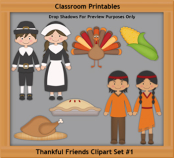 Thankful Friends Clipart Set 1