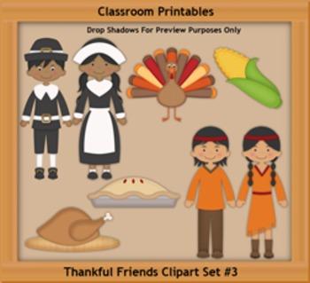 Thankful Friends Set 3 Clipart Set Updated Version