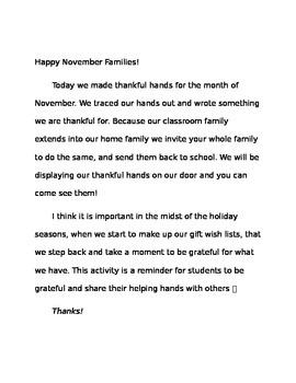 Thankful Hand Activity