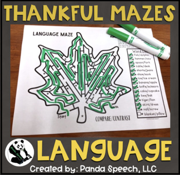 Thankful Language Mazes: A vocabulary and grammer activity