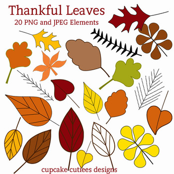 Thankful Fall Autumn Leaves Digital Clip Art Elements