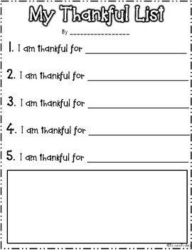 Thanksgiving Thankful List *FREEBIE*