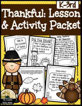 Thankfulness Lesson & Activity Packet