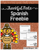 Thankful Note - Spanish Freebie