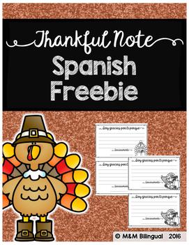 Thankful Note - Spanish Freebie