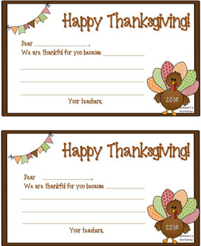 Thankful Notes - For Students From Teacher!