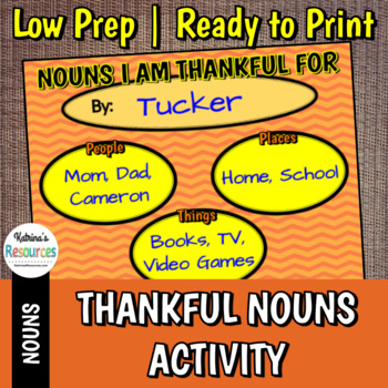 Thankful Nouns Parts of Speech Activity for Thanksgiving