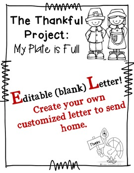 Thankful Project: My Plate is Full of Many Blessings {Editable Letter!}