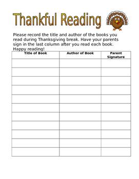 Thankful Reading Log Freebie