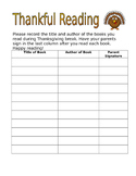 Thankful Reading Log Freebie
