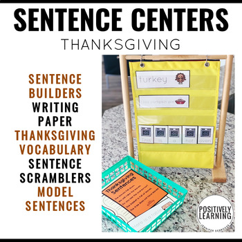 Sentence Building Center Cards Thanksgiving