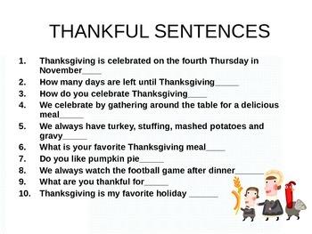 Thankful Sentences