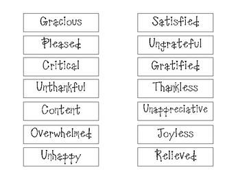 Thankful Synonyms and Antonyms by Kasey Nichols | TpT