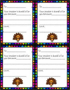 Thankful Teacher Notes - For Students