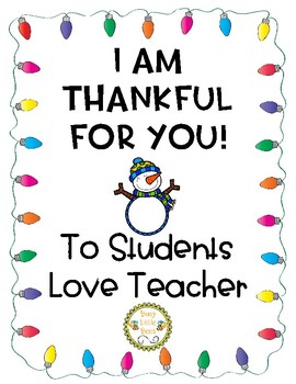 Thankful Teacher Notes - For Students (Holiday Version)