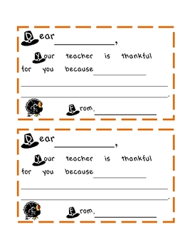Thankful Teacher- Thanksgiving Cards