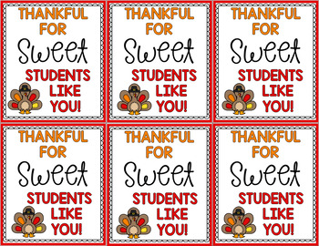 Thankful Teacher and Student Gift Tags: Freebie